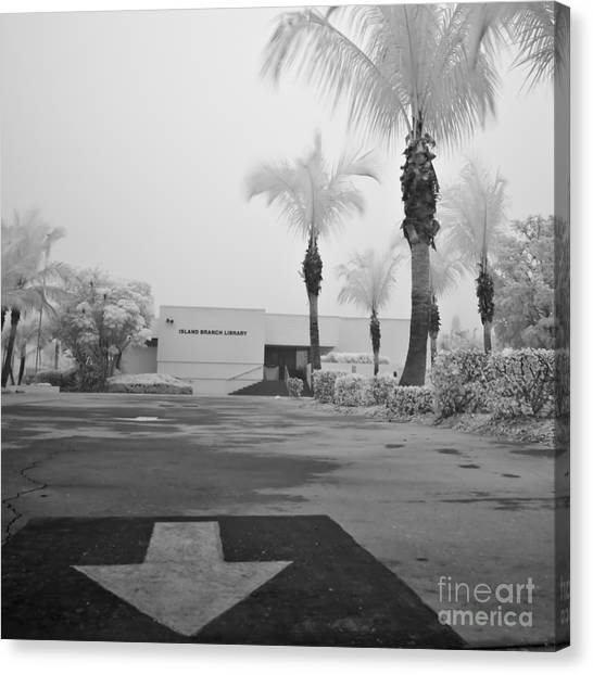 Anna Maria Island Branch Library In Fog Infrared 50 Canvas Print by Rolf Bertram