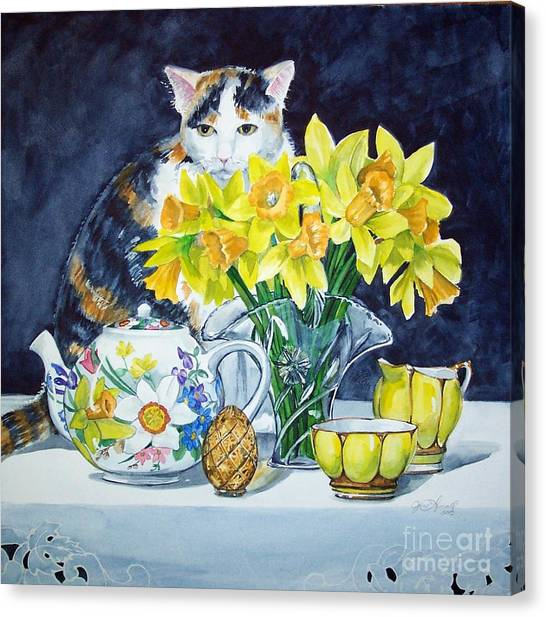 Annabelle Behind Flowers Canvas Print