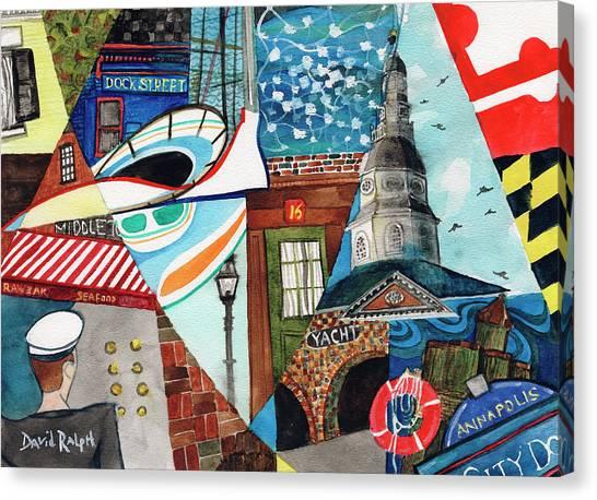 Annapolis Dock Dine Assemble Canvas Print