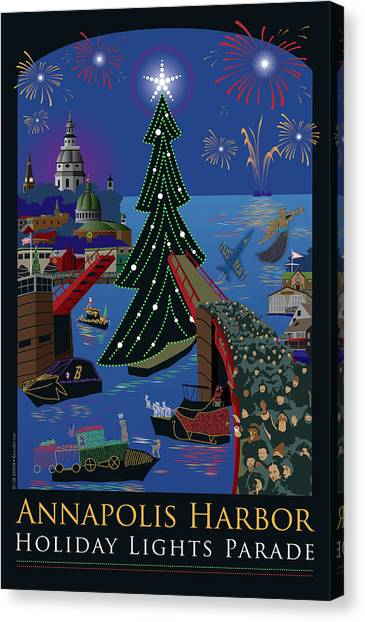 Annapolis Holiday Lights Parade Canvas Print