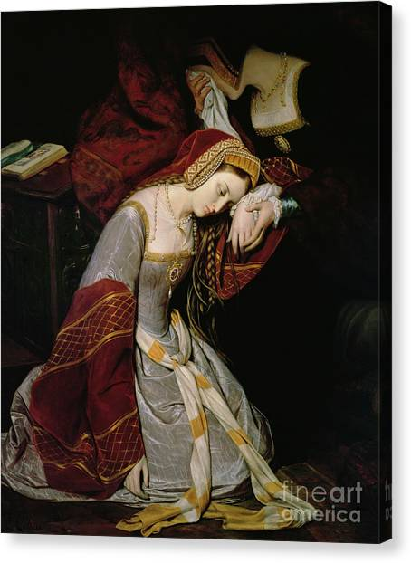 Queen Elizabeth Canvas Print - Anne Boleyn In The Tower by Edouard Cibot