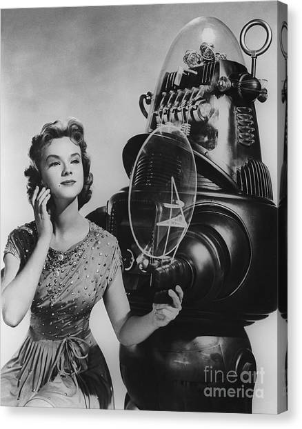 Forbidden Planet Canvas Print - Anne Francis Movie Photo Forbidden Planet With Robby The Robot by R Muirhead Art