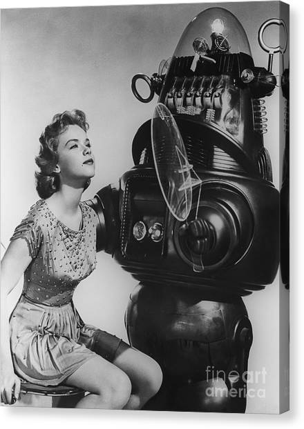 Forbidden Planet Canvas Print - Anne Francis Movie Sexy Photo Forbidden Planet With Robby The Robot by R Muirhead Art