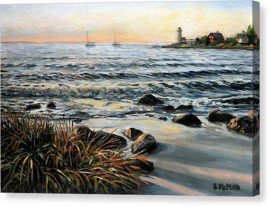 Annisquam Beach And Lighthouse Canvas Print