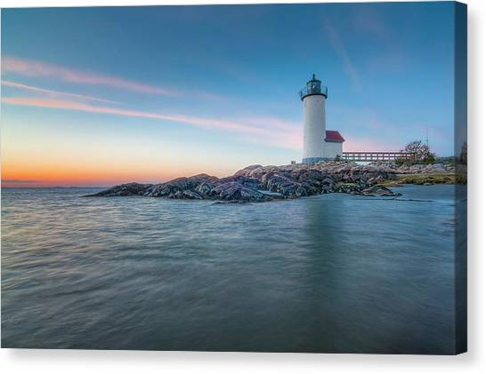 Annisquam Light In Waders Canvas Print