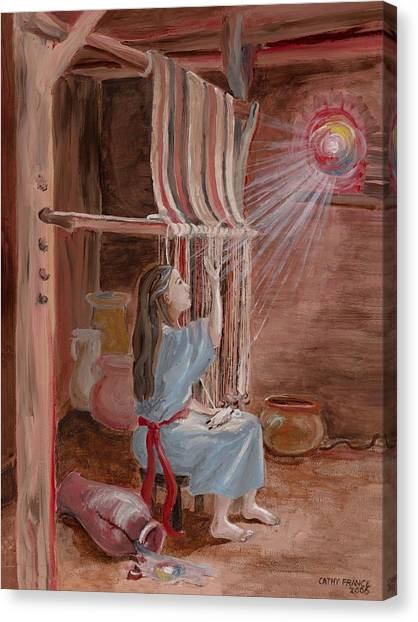 Annunciation To Mary Canvas Print by Cathy France