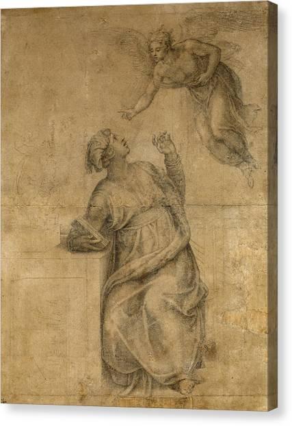Michelangelo Simoni Canvas Print - Annunciation To The Virgin by Michelangelo di Lodovico Buonarroti Simoni