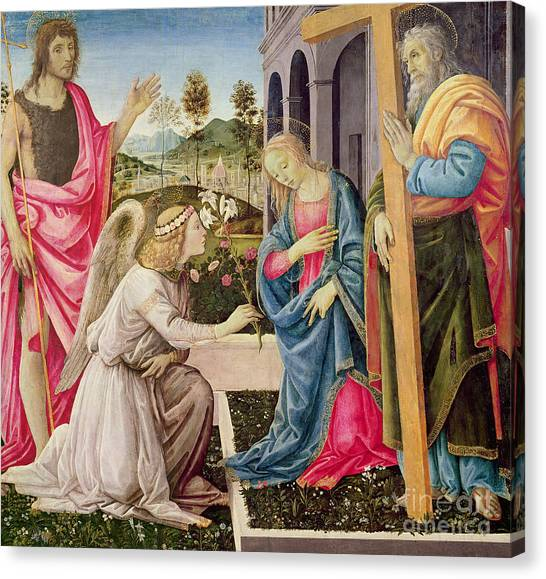 The Annunciation Canvas Print - Annunciation With Saint Joseph And Saint John The Baptist by Filippino Lippi