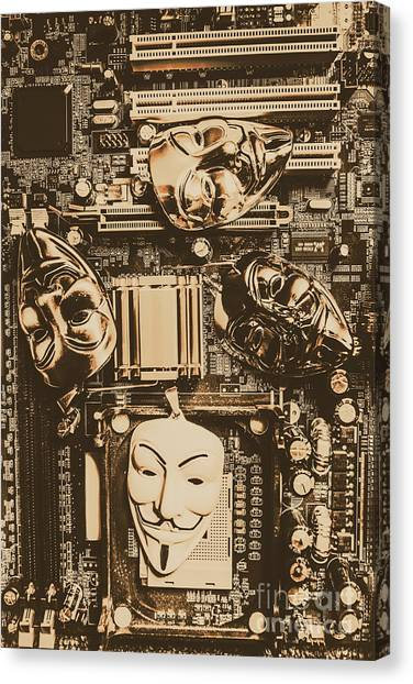 Computer Science Canvas Print - Anonymous Cyber Masks by Jorgo Photography - Wall Art Gallery