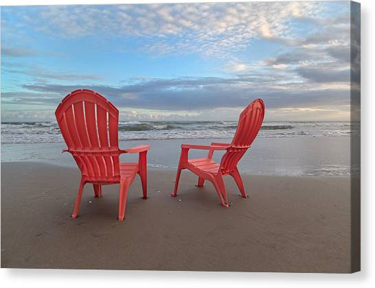 Adirondack Chair Canvas Print - Another Busy Beach Day by Betsy Knapp