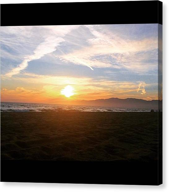 Venice Beach Canvas Print - Painted Skies by Roomana Patel