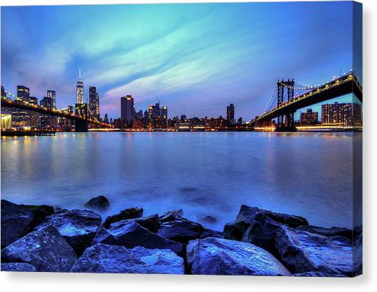 Another Day Comes To A Close In Nyc Canvas Print by Daniel Portalatin