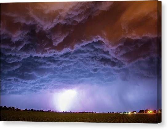 Canvas Print featuring the photograph Another Impressive Nebraska Night Thunderstorm 007 by NebraskaSC