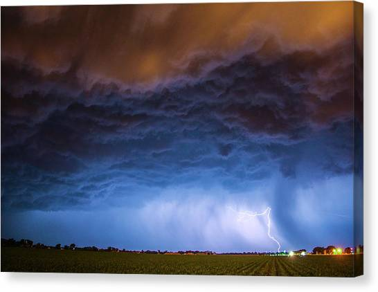 Canvas Print featuring the photograph Another Impressive Nebraska Night Thunderstorm 008/ by NebraskaSC