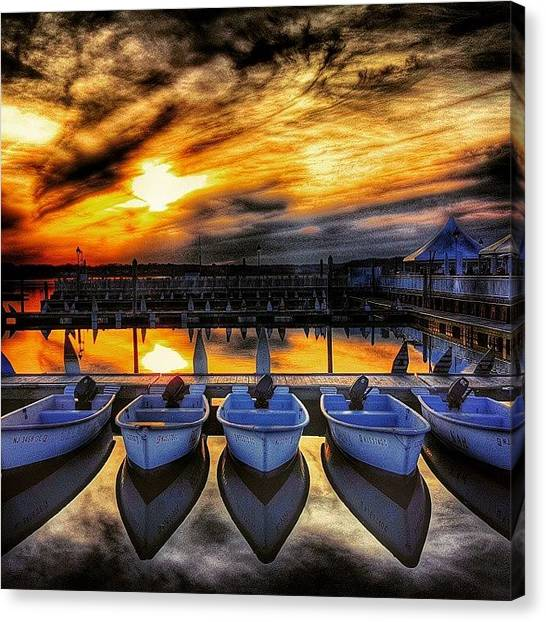 Jerseys Canvas Print - Sunset Over The Marina by Lauren Fitzpatrick