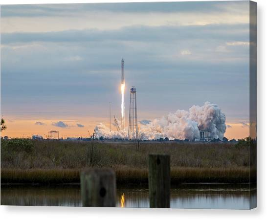 Antares Launch From Wallops Island Canvas Print