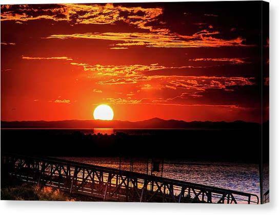 Antelope Island Marina Sunset Canvas Print
