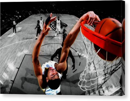 University Of Kentucky Canvas Print - Anthony Davis Backwards Slam by Brian Reaves