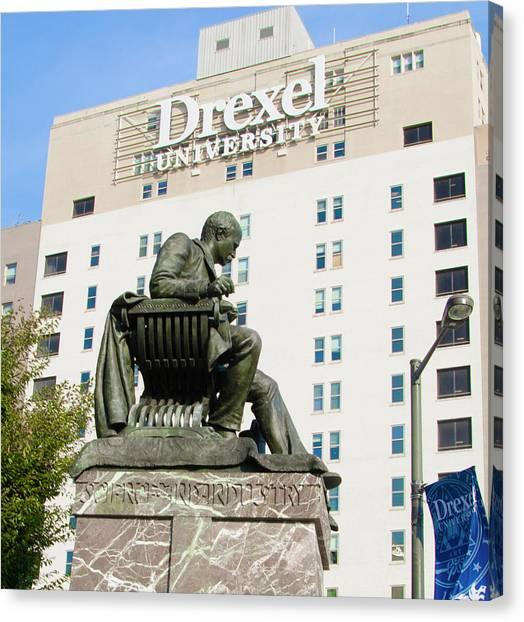 Drexel University Canvas Print - Anthony Drexel Statue - Drexel University by Bill Cannon