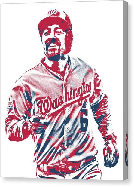 Washington Nationals Canvas Print - Anthony Rendon Washington Nationals Pixel Art 2 by Joe Hamilton