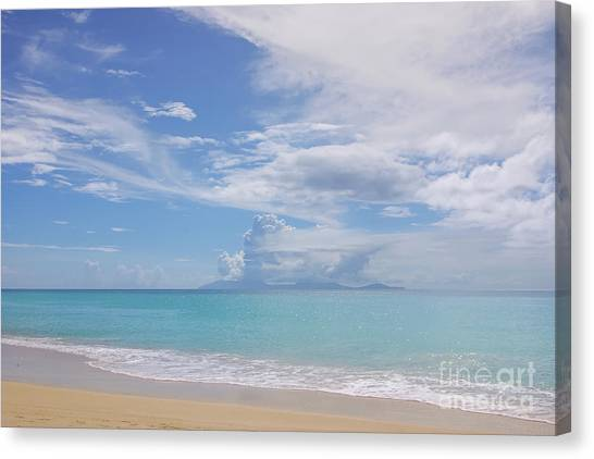 Antigua Beach View Of Montserrat Volcano Canvas Print