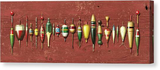 Angling Canvas Print - Antique Bobbers Red  by JQ Licensing