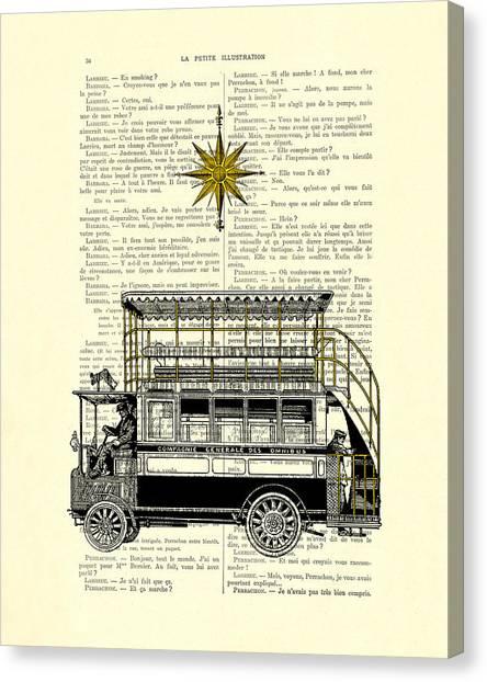 Compass Canvas Print - Double-decker Bus Vintage Illustration Dictioanry Art by Madame Memento