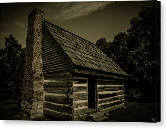 Canvas Print featuring the photograph Antique Cabin - The Hermitage by James L Bartlett