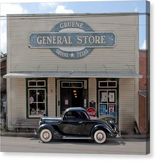 Antique Car At Gruene General Store Canvas Print