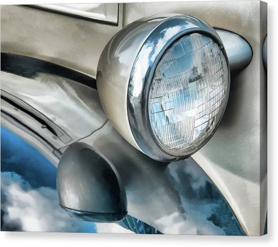 Antique Car Headlight And Reflections Canvas Print