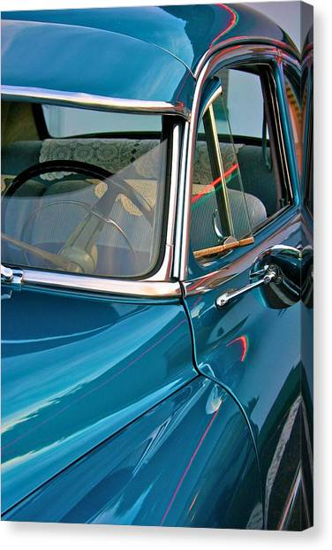 Antique Car With Neon Reflections Canvas Print