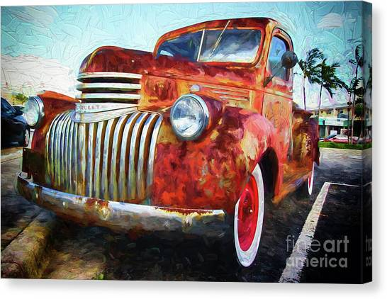 Rusty Truck Canvas Print - Antique Chevrolet Truck by Les Palenik