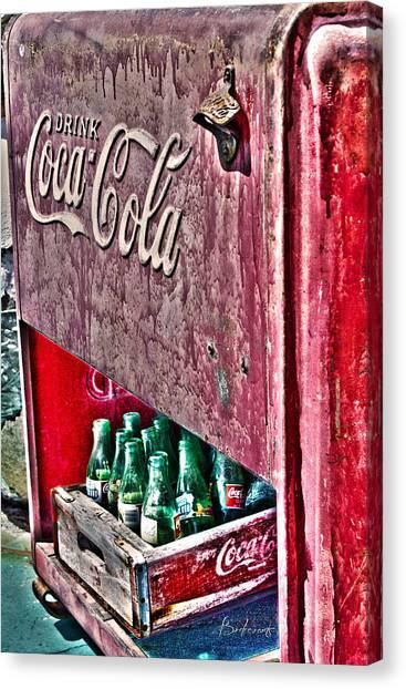 Antique Coca Cola Coke Refrigerator Canvas Print