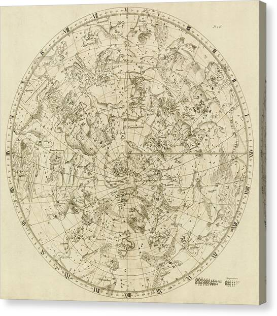 Antique Constellation Map Northern Hemisphere By John Flamsteed