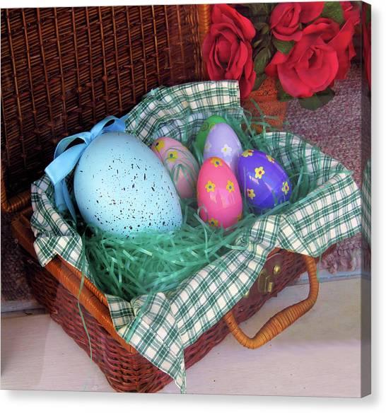 Easter Baskets Canvas Print - Antique Easter Basket by Rosalie Scanlon