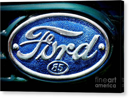 Rusty Truck Canvas Print - Antique Ford Badge by Olivier Le Queinec