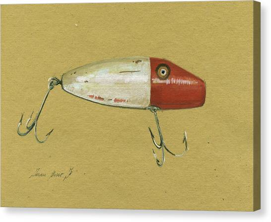 Fly Fishing Canvas Print - Antique Lure Bait by Juan Bosco