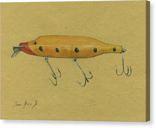 Fly Fishing Canvas Print - Antique Lure by Juan Bosco