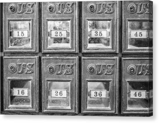 Antique Mailbox Black And White Canvas Print