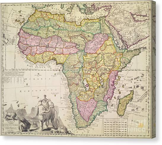Crocodiles Canvas Print - Antique Map Of Africa by Pieter Schenk