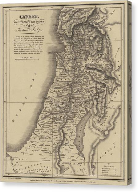Holy Land Canvas Print - Antique Map Of Canaan by English School