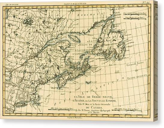 Nova Scotia Canvas Print - Antique Map Of Eastern Canada by Guillaume Raynal
