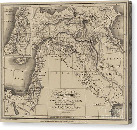 Syrian Canvas Print - Antique Map Of Mesopotamia With Canaan And Other Parts Of The Middle East by English School