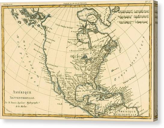 United States Of America Canvas Print - Antique Map Of North America by Guillaume Raynal