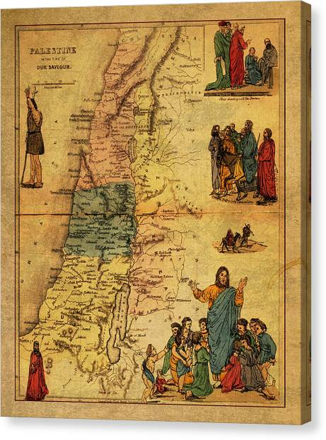 Palestinian Canvas Print - Antique Map Of Palestine 1856 On Worn Parchment by Design Turnpike