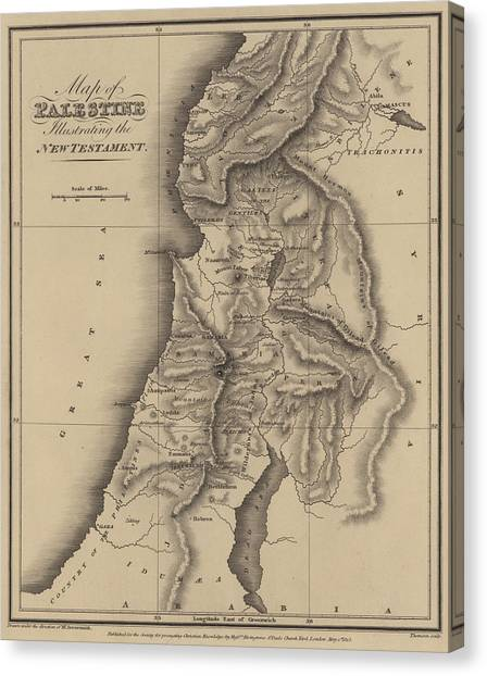 Palestinian Canvas Print - Antique Map Of Palestine by English School
