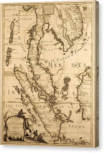 South Asia Canvas Print - Antique Map Of South East Asia by French School