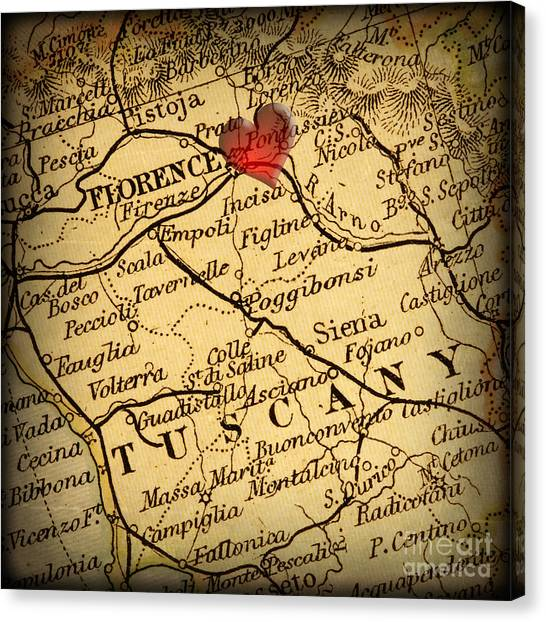 Antique Map With A Heart Over The City Of Florence In Italy Canvas Print by ELITE IMAGE photography By Chad McDermott