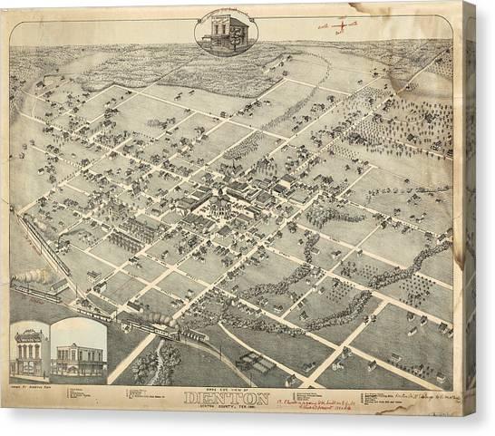 Antique Maps - Old Cartographic Maps - Antique Birds Eye View Map Of Denton, Texas, 1883 Canvas Print