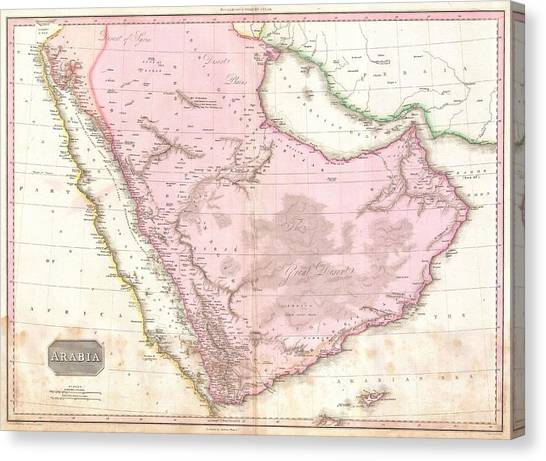 Arabian Desert Canvas Print - Antique Maps - Old Cartographic Maps - Antique Map Of Arabia, 1818 by Studio Grafiikka
